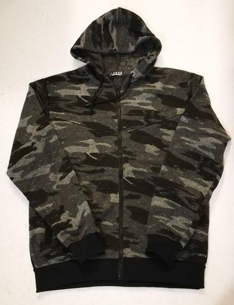 ac292357da Fekete-szürke terepmintás, cipzáras, zsebes, kapucnis, vékony polár bélelt  férfi pulóver