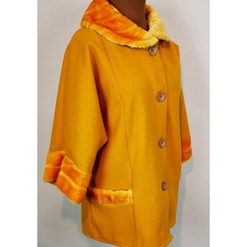 Műszőrme díszesítéses, gombos, zsebes, átmeneti polár kabát 3XL/5XL