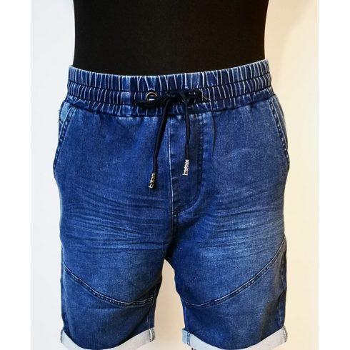 Gumis derekú, deréknál megkötős, elől-hátul zsebes, sztreccses, rugalmas anyagú, férfi farmer rövid nadrág M-2XL