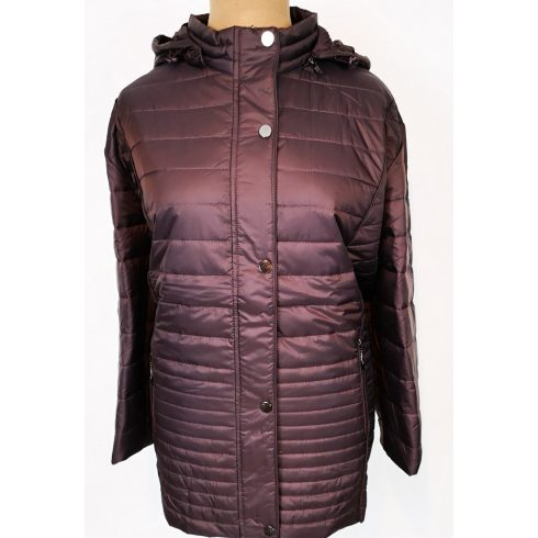 Extra nagy méretű, padlizsán lila színű, dupla záródású, levehető kapucnis, zsebes, vékony, átmeneti dzseki
