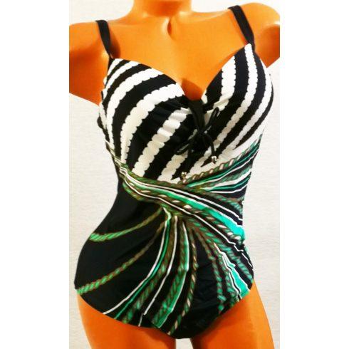 Hátul egyszínű sötétkék, elől zöld-fehér mintával díszített,  mellnél szivacs betétes, állítható pántos, egyrészes fürdőruha