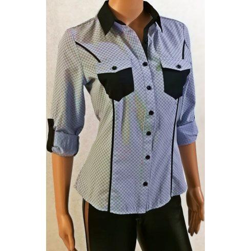 Végig gombos, galléros, apró mintás,  mellnél zsebes ,-  eltérő színű betétekkel ,roll-upos ujjú ing