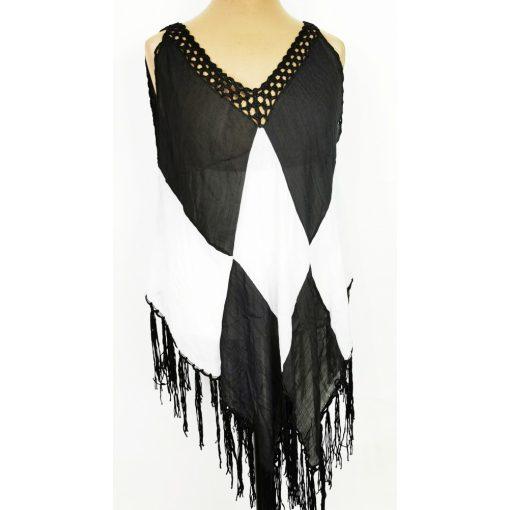 """""""V"""" nyakú, fehér-fekete színű, horgolással és rojtokkal díszített, könnyű, aszimmetrikus aljú, pamut anyagú strand ruha"""