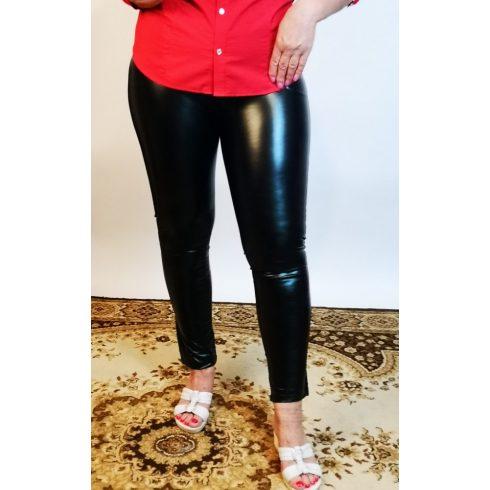 Fekete színű, bőrhatású, gumis derekú, zsebes latex nadrág  2XL/3XL-6XL/7XL