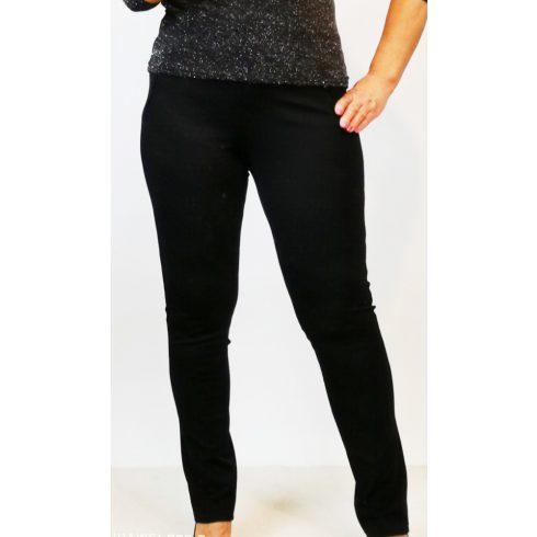 Nagyon szép, fekete színű, álzsebes, gombos, cipzáras, szélesített, díszített derekú, alkalmi nadrág