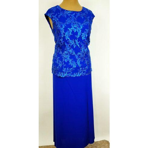 Gyönyörű, királykék színű, két részes alkalmi ruha, felső része ujjatlan, dupla anyagú, hátul cipzáras 42-46