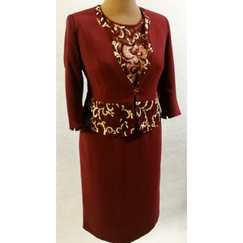 Gyönyörű két részes alkalmi ruha, elől felső része arany-bordó színű  csipke rátétes 44