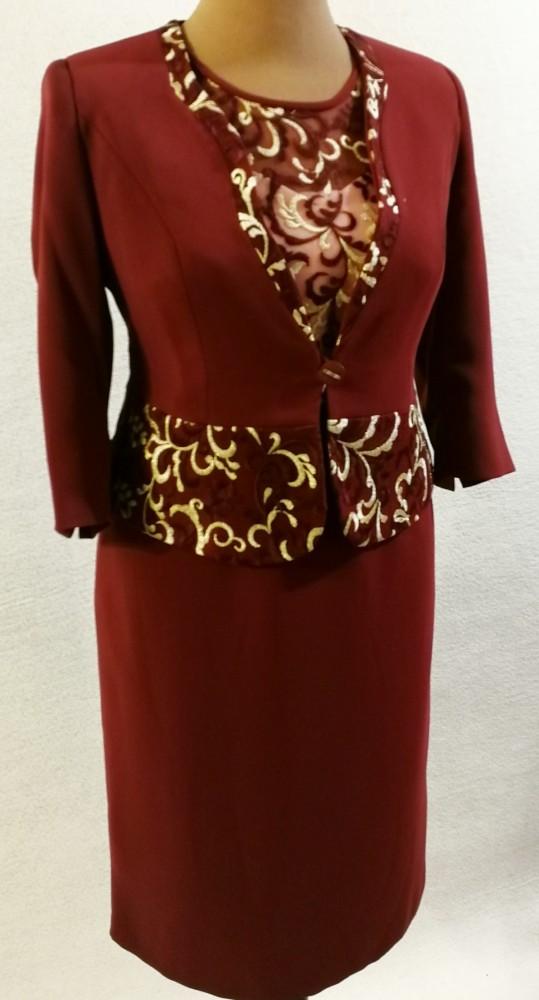 c7f8501f53 Gyönyörű két részes alkalmi ruha, ruha része bordó alapszínű,  selyembéléses, elől felső része