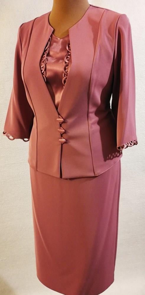 dd2664a48a Gyönyörű, világos lila színű, három részes alkalmi kosztüm, szoknya része  selyem béléses,