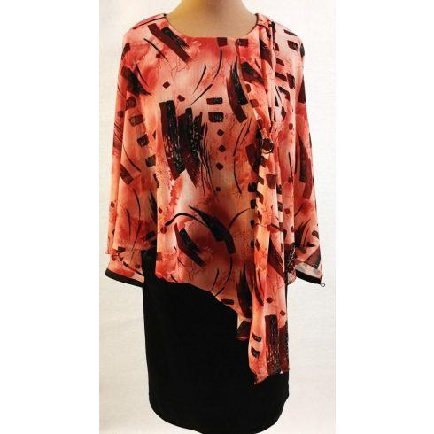 Rózsaszín alapon bordó színű mintával díszített, muszlin rátétes alkalmi ruha 42-46