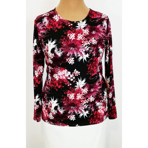Kerek nyakú, hosszú ujjú, fekete alapszínen piros-fehér-bordó színű virág mintával díszített, kellemes, pamutos anyagú felső