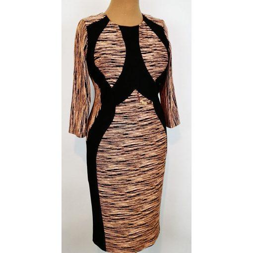 Fekete-barack színű mintás, fekete betétes ruha. 48