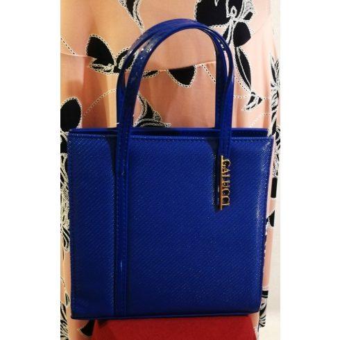 Cipzáras, kézi és oldal válltáska, egy rekeszes, hosszú pánttal is használható, búzavirágkék színű, rizsbőr alkalmi táska