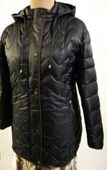 Sötétkék alapszínű, levehető kapucnis, zsebes, dupla záródású, vatelin béléses dzseki