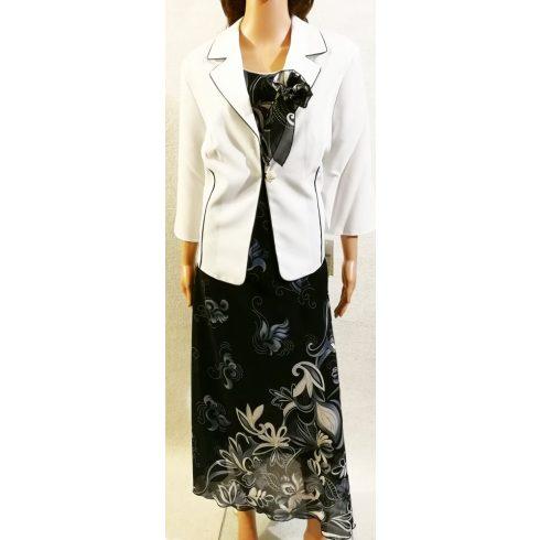 Gyönyörű két részes alkalmi maxi ruha, blézere fehér színű 46-56