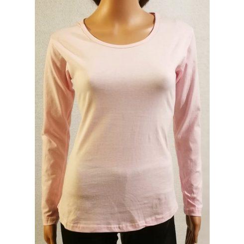Kerek nyakú, hosszú ujjú, kellemes rózsaszín színű, rugalmas,  pamut  anyagú  felső