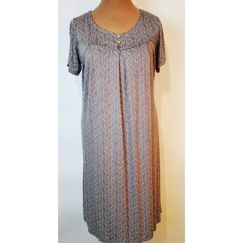 Kerek nyakú, rövid ujjú, derekánál megköthető, elől-hátul apró mintával díszített, vékony, könnyű, nyári, pamutos anyagú ruha XL/3XL