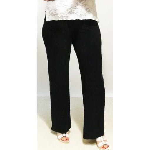 Sötétkék színű, gumis derekú, laza, selyem anyagú, nyári nadrág XL-4XL