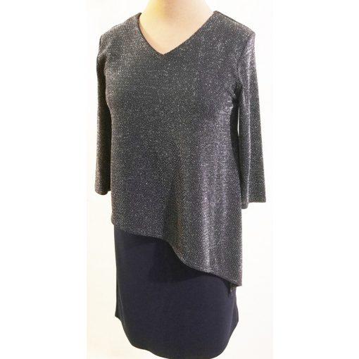 Felső része fekete-ezüstszürke színű, vastagabb anyagú alkalmi ruha 52