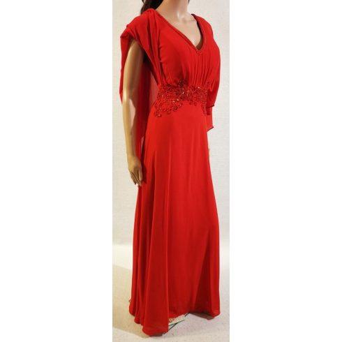 Gyöngydíszítéses, dupla, muszlin anyagú alkalmi ruha 46-48
