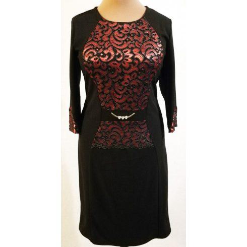 Bordó színű, enyhén csillogó, csipke rátétes, alkalmi ruha 48-52