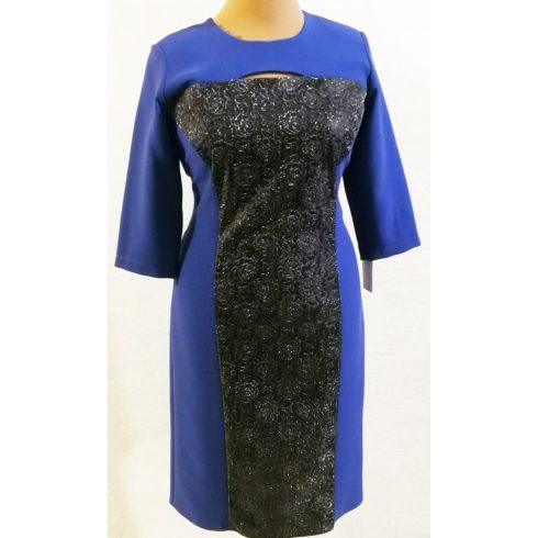 Elől fekete alapon, ezüst színű,  virág mintával díszített ruha 44-50