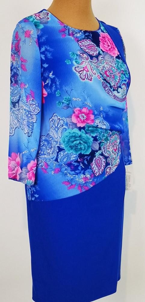 Világoskék rózsaszín színű muszlin rátétes, alkalmi ruha 44