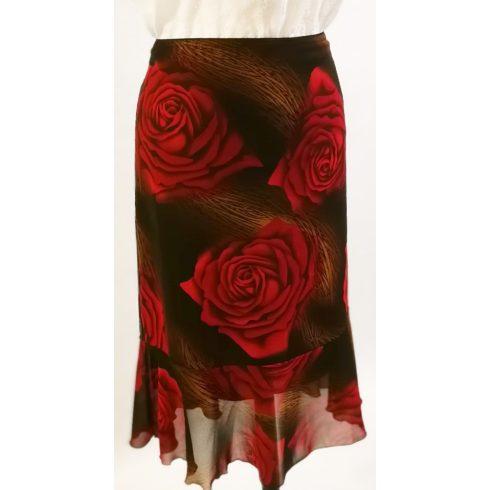 Gumis derekú, fekete alapon nagy piros virág mintával díszített, dupla anyagú muszlin  szoknya