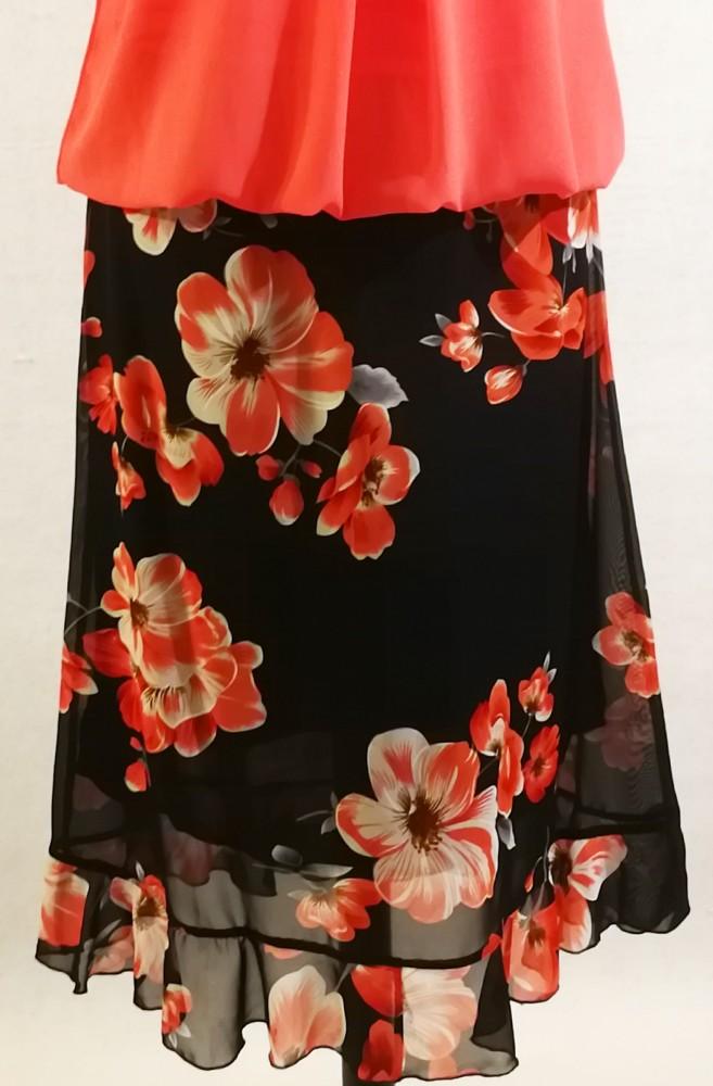 28b57851a7 Gumis derekú, sötétkék alapon piros-fehér virág mintával díszített, dupla  anyagú muszlin szoknya