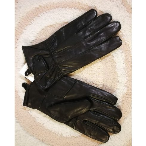 5 ujjas, egyszínű fekete, vékony szőrme bélelt, csuklónál patentos, műbőr férfi  kesztyű