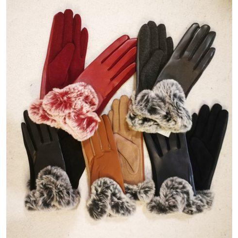 5 ujjas, vékony szőrme béléses, felső része műbőr, tenyér része rugalmas pamut anyagú, csuklónál színhez illő szőrme díszítésű kesztyű