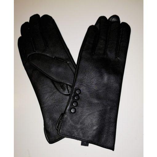 5 ujjas, egyszínű fekete, csuklónál díszített, műbőr kesztyű